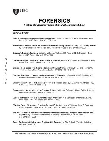 Forensics - JIBC Library - Justice Institute of British Columbia