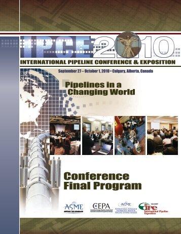 Conference Final Program - International Pipeline Conference 2012