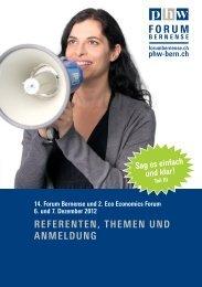 REFERENTEN, THEMEN UND ANMELDUNG - Forum Bernense