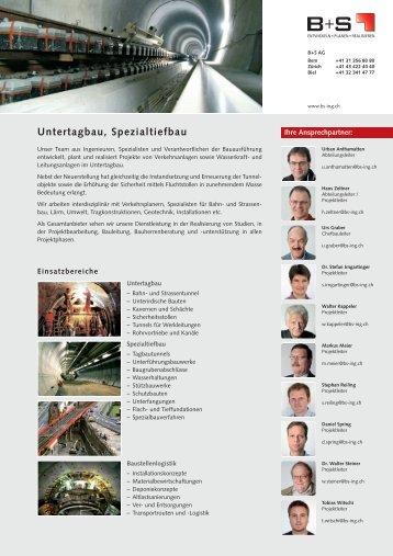 Untertagbau, Spezialtiefbau - B+S AG