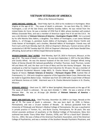 July/August 2010 expanded obituaries - Vietnam Veterans of America