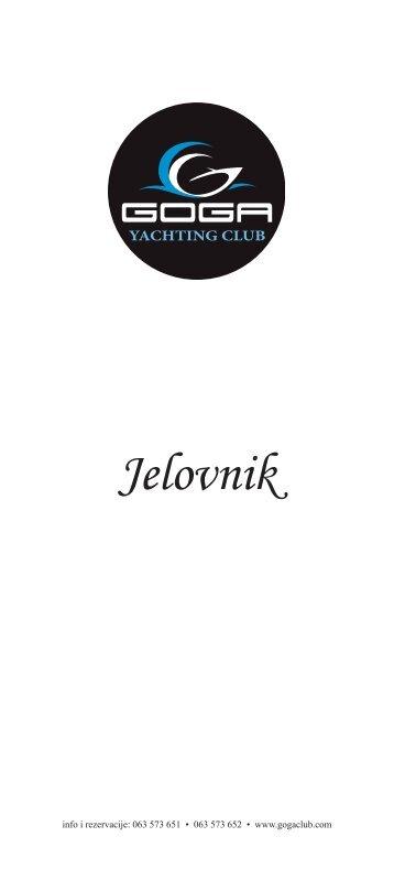 Jelovnik - Goga Yachting Club