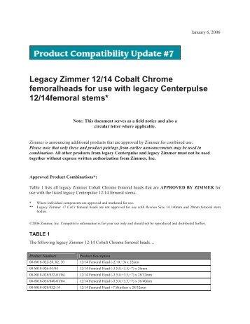 Legacy Zimmer 12/14 Cobalt Chrome ... - Weee.zimmer.eu