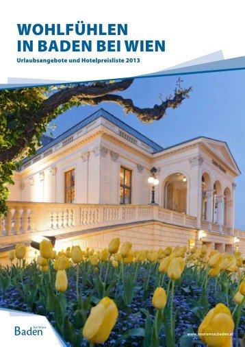 """""""Wohlfühlen in Baden bei Wien"""" - Urlaubsangebote & Hotelpreisliste"""