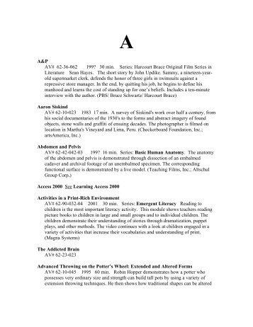Audiovisual Catalog (PDF) - City Colleges of Chicago
