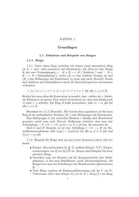 Vorlesung Ringe und Moduln Dirk Kussin - Institut für Mathematik ...