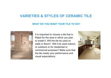 VARIETIES & STYLES OF CERAMIC TILE - Grossman's Bargain Outlet