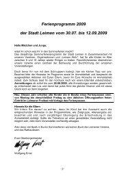 Ferienprogramm 2009 der Stadt Leimen vom 30.07. bis 12.09.2009