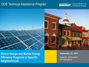 How to Design and Market Energy Efficiency Programs to ... - EERE