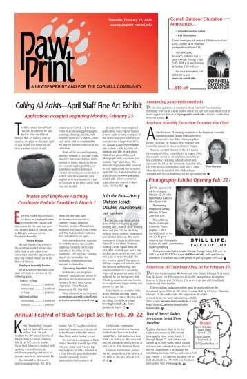 Calling All Artists—April Staff Fine Art Exhibit - Pawprint - Cornell ...