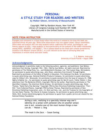persona: a style study for readers and writers - Instructor's ...