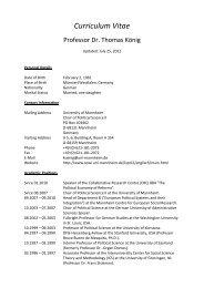 Curriculum Vitae - Sowi - Universität Mannheim