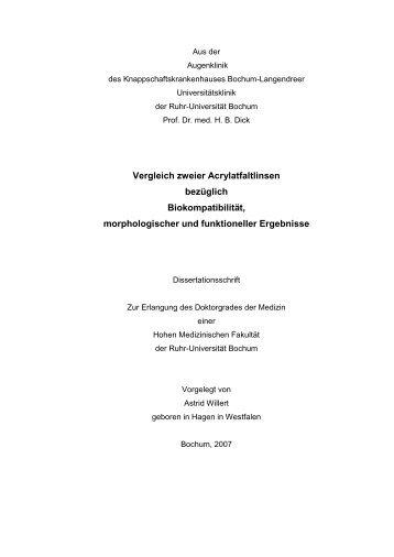 Vergleich zweier Acrylatfaltlinsen bezüglich Biokompatibilität - Ruhr ...