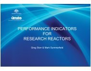 PERFORMANCE INDICATORS FOR RESEARCH REACTORS
