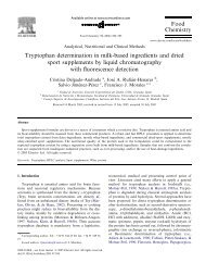 Tryptophan determination in milk-based ingredients and dried sport ...