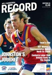 JOHNSTON'S JOURNEY - AFL Canberra