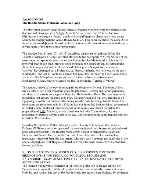 Jon SOLOMON The Rosetta Stone, Ptolemaic Aetos, and Aida The ...