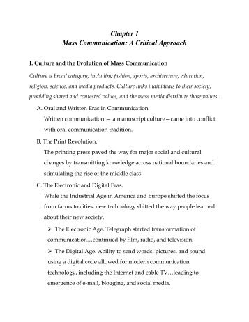 mass communication 101 chapter 1 3 notes Fundamentals of communication chapter 10- topic selection and audience analysis choosing a topic personal inventory brainstorming narrowing a topic what topics interests you & audience what topics do you know about & your audience want to know what topics are you committed to (passion and conviction) what topics can you find research on.