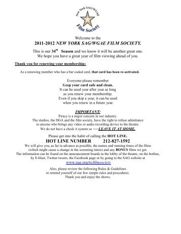 Sag film society nyc