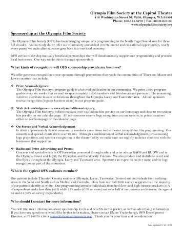 Download our Sponsorship Packet - Olympia Film Society