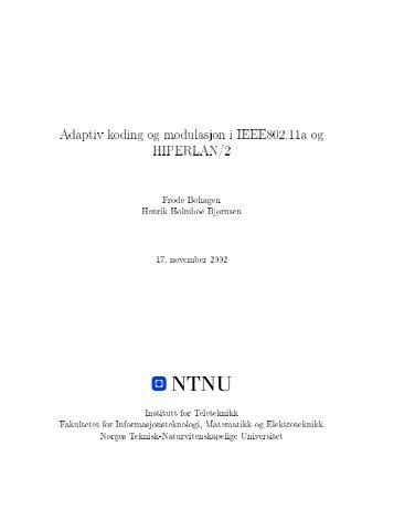 Adaptiv koding og modulasjon i IEEE802.11a og HIPERLAN/2