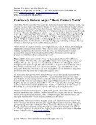 "Film Society Declares August ""Movie Premiere Month"""