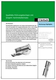 Führungsbüchsen mit langem HM-Einsatz - Friedrich Britsch GmbH ...