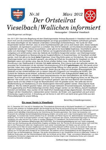 Nr.16 März 2012 Der Ortsteilrat Vieselbach/Wallichen informiert