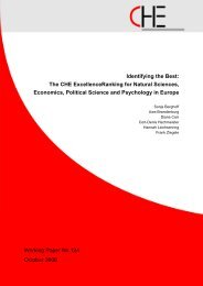 The CHE ExcellenceRanking for Natural Sciences, Economics