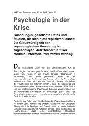 Psychologie in der Krise Fälschungen, geschönte ... - ETH Zürich