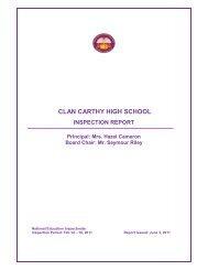 CLAN CARTHY HIGH SCHOOL - Ministry of Education