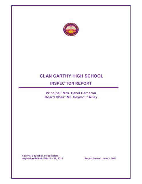 CLAN CARTHY HIGH SCHOOL Ministry Of Education