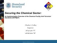 Securing the Chemical Sector: