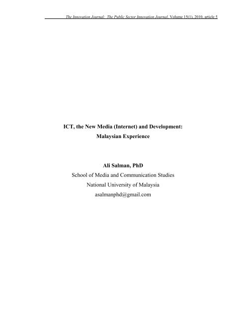 ICT, the New Media (Internet) and Development: - The Innovation ...