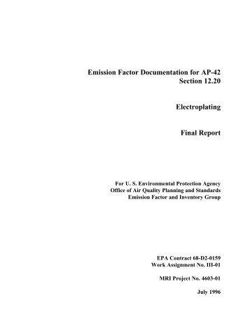 Emission Factor Documentation for AP-42 Section 12.20 - US ...