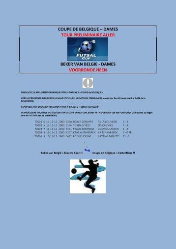 COUPE DE BELGIQUE – DAMES TOUR PRELIMINAIRE ... - BZVB
