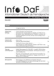 Informationen Deutsch als Fremdsprache - Iudicium Verlag GmbH