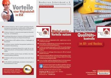 Baubegleitende kontrolle Qualitäts - Bauherren Schutzbund eV