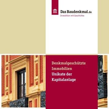 Das Baudenkmal.de Broschüre, Denkmalgeschützte Immobilien