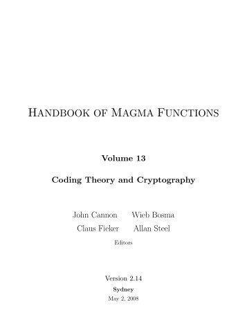 HANDBOOK OF MAGMA FUNCTIONS
