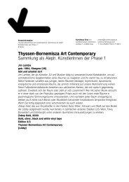 Thyssen-Bornemisza Art Contemporary Sammlung als Aleph ...