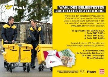 Wahl zum BELIEBTESTEn ZUSTELLERs ÖSTERREICHS. Wahl des ...