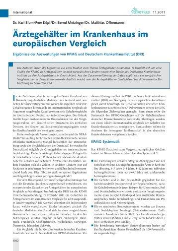 Ärztegehälter im Krankenhaus im europäischen Vergleich