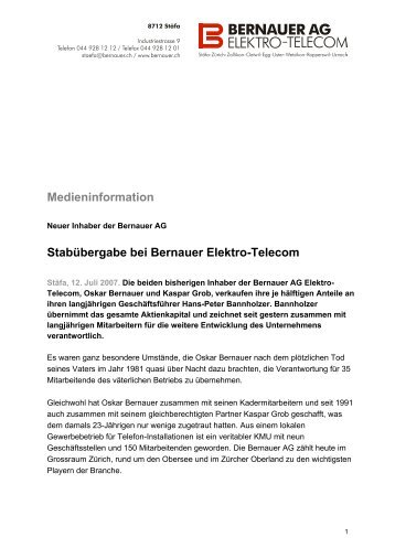 Medieninformation Stabübergabe bei Bernauer ... - Bernauer AG