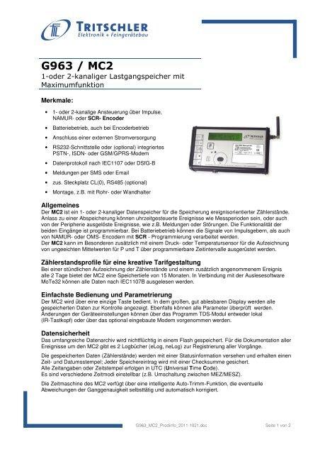 G963 / MC2 - FTL Tritschler Elektronik+Feingerätebau