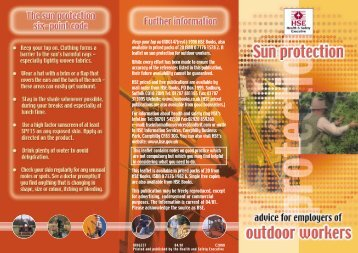 Sun protection, advice for employers of outdoor workers - HSE