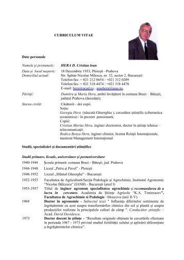 Acad. Prof. Univ. Dr. Doc. Hera D. Cristian - ansvsa