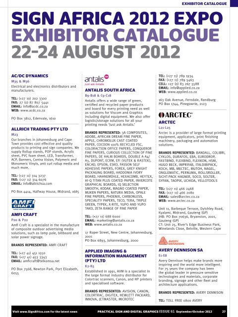 Sign Africa 2012 Expo Exhibitor Catalogue 22 24