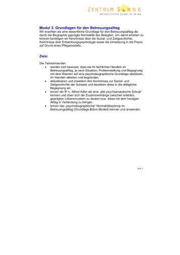 Modul 3: Grundlagen für den Betreuungsalltag