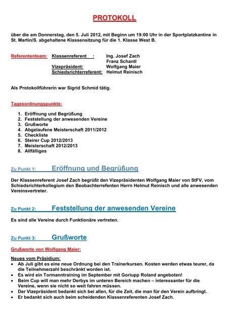 PROTOKOLL Eröffnung und Begrüßung Feststellung der ...